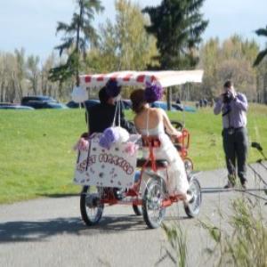 Wedding picture on Surrey Quadricycle Bike